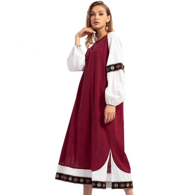 Elegant Embroidery Long Dress Oversized Lantern Sleeve Abaya Maxi Dress - Hijab Modesty İstanbul
