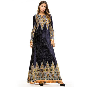 b170b58efc8 Ethnic Vintage Print Long Dress Velvet Elegant Long Sleeve Muslim Maxi  Dresses - Hijab Modesty İstanbul