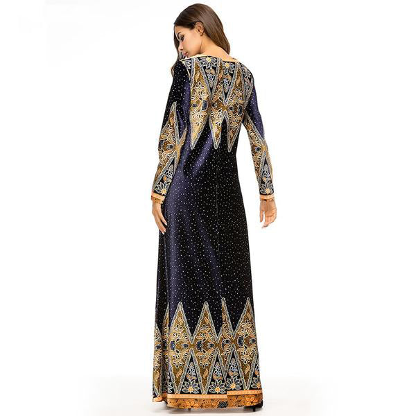 Ethnic Vintage Print Long Dress Velvet Elegant Long Sleeve Muslim Maxi Dresses - Hijab Modesty İstanbul