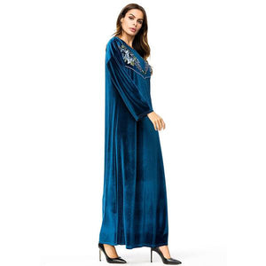 Velvet Embroidery Long Dress Autumn Muslim Women Casual Maxi Dresses - Hijab Modesty İstanbul