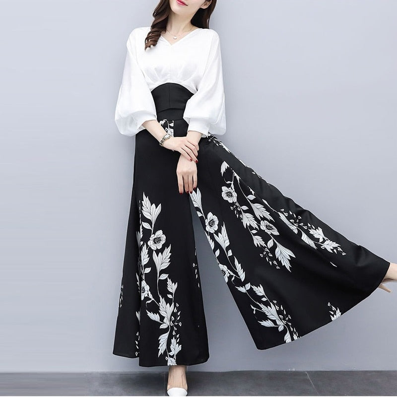Chiffon Casual Pant Suits Elegant Two Piece Set  White Blouse And Black Floral Print Wide Leg Pants Suit - Hijab Modesty İstanbul