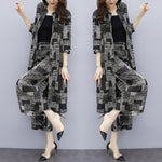 Floral Print Big Size Two Piece Set Chiffon Cardigan and Pants Women's Suit - Hijab Modesty İstanbul