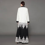 Black White Lace Decorated Abaya Maxi Dress - Hijab Modesty İstanbul