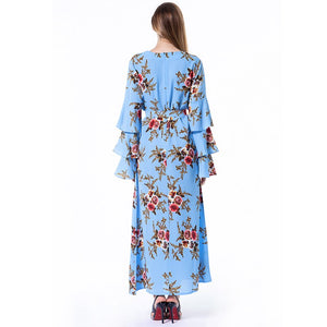 Abayas For Women Floral Muslim Hijab Dress Women Kaftan - Hijab Modesty İstanbul