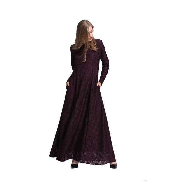 Muslim Women Abaya Dress Pink Full Lace Long Dresses - Hijab Modesty İstanbul