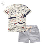 O-Neck T-Shirt and Pants Shorts Summer Casual Cartoon Pullover Cotton Kids Boy Clothes - Hijab Modesty İstanbul