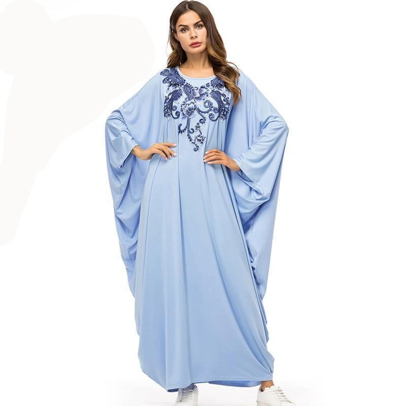 Blue Oversized Dress Batwing Sleeve Loose Floral Embroidery Maxi Dress - Hijab Modesty İstanbul