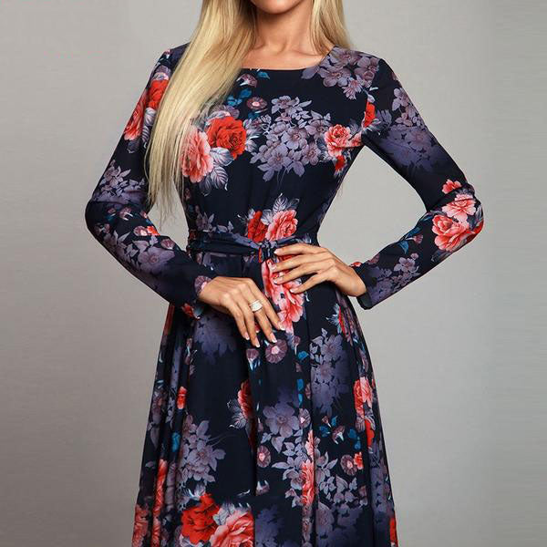 Elegang Floral Printed Dress Long Sleeve O Neck Long Muslim Dresses - Hijab Modesty İstanbul