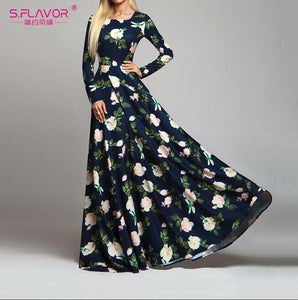 Elegant Long Sleeve Printed Dress Modest Islamic Dress - Hijab Modesty İstanbul