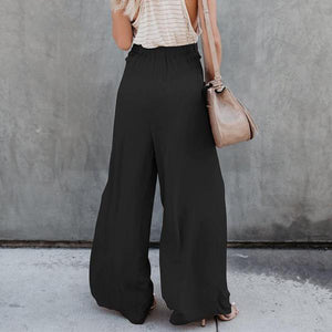 Wide Leg Pants High Waist Bow Long Pants Casual Loose Trousers Plus Size - Hijab Modesty İstanbul