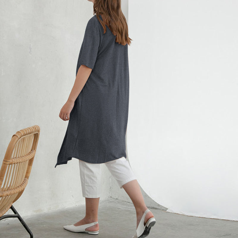 Long Summer Casual Short Sleeve Asymmetrical Tunic Tops Loose T-shirt Plus Size
