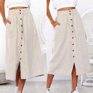 Daily Summer Soft and Comfortable High Waist Line Button Maxi Long Skirt - Hijab Modesty İstanbul