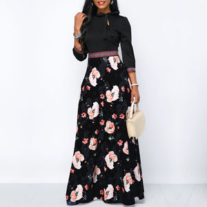 0e11451aed9 Long Maxi Dresses Hollow Neck Three Quarter Sleeve Floral Print Modest  Style Dress - Hijab Modesty