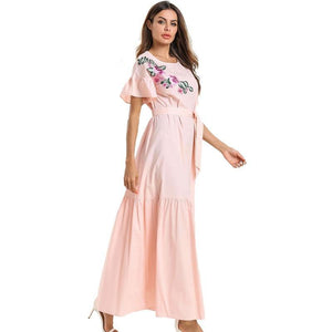 Oversized Elegant Pink Women Floral Embroidery Summer Dress LooseButterfly Sleeve Maxi Dress - Hijab Modesty İstanbul