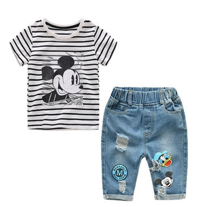 Boys Girls Summer Cartoon Striped T Shirt + Denim Shorts Clothes 2pcs Sets - Hijab Modesty İstanbul