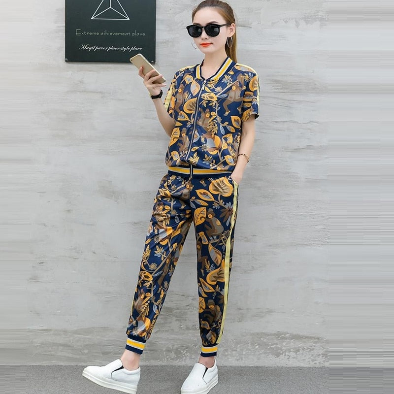 Tracksuit Women Casual Pant Suit Two Piece Set Women Short Sleeved Zipper Jacket And Pencil Pants Suits Sets - Hijab Modesty İstanbul