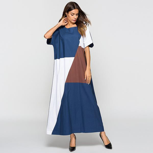 Summer Long Dress Casual Maxi Muslim Dresses Plus Size