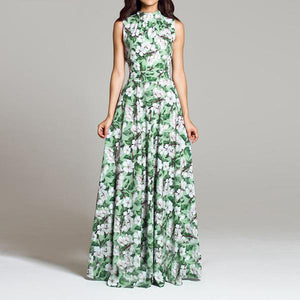 Summer Women Floral Print Dress Bohemian Style Casual O Neck Sleeveless Vintage Long Dress - Hijab Modesty İstanbul
