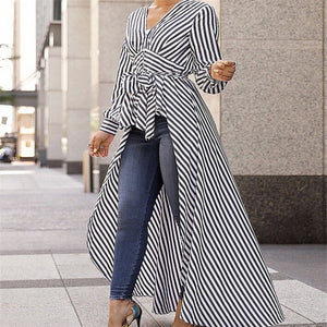 Blouse Black Strips V-Neck Long Sleeve Shirts Striped Blouse Tunic - Hijab Modesty İstanbul