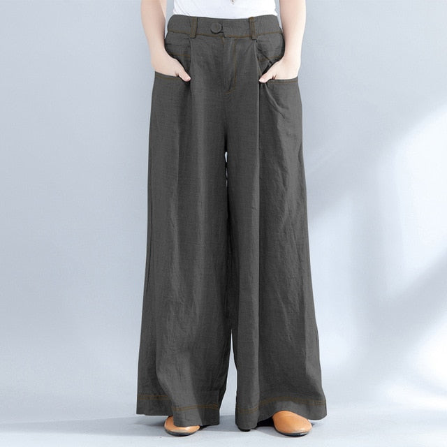 Women Wide Leg Pants Casual Loose Long Trousers Pockets High Waist Pants Plus Size - Hijab Modesty İstanbul