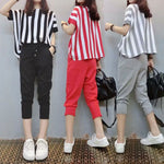 Women's Set Casual O-neck Batwing Short Sleeve Striped Two Piece Set Plus Size Suits
