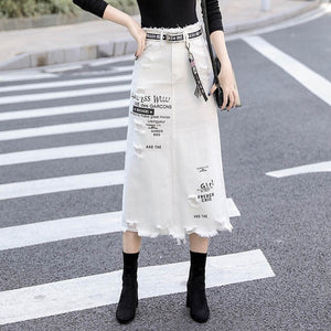 Women Denim Skirt Long Skirts High Waist Casual White Jeans Skirt Plus Size - Hijab Modesty İstanbul