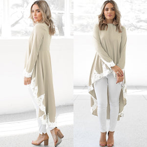 Elegant Patchwork Lace Dress for Women Long Sleeve Casual Tunic Spring Dress Plus Size - Hijab Modesty İstanbul