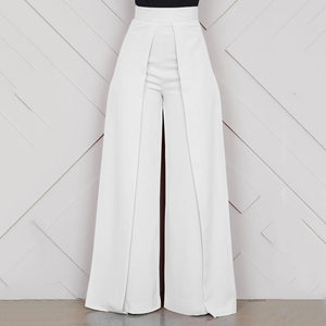 High Waist Wide Leg Pants White Black Long Zipper Casual Loose Trousers - Hijab Modesty İstanbul