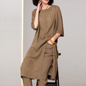 Long Top Casual Blouse Summer Cotton Linen Shirt Tunic Tops - Hijab Modesty İstanbul