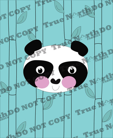 Playful Panda Panel on Heathered Blue