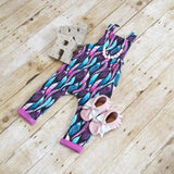 Pink Blue Purple Feathers- Cotton Lycra 1/2 Metres