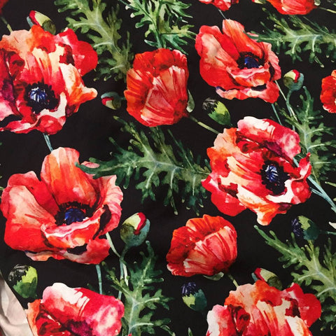 Watercolour Poppies on Black Bamboo- 1 Metre