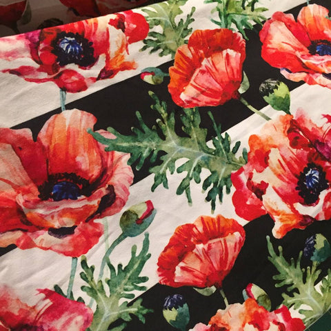 Watercolour Poppies on Large Stripe
