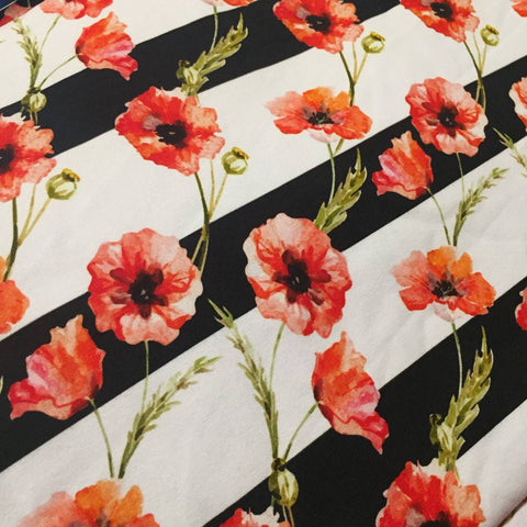 Watercolour Poppies on small stripes