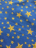 Gold Stars on Denim- 1.5 metres