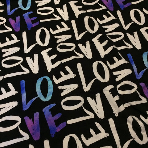 LOVE Purple & Blue Watercolour Cotton Lycra- 1 Metre PRE CUT