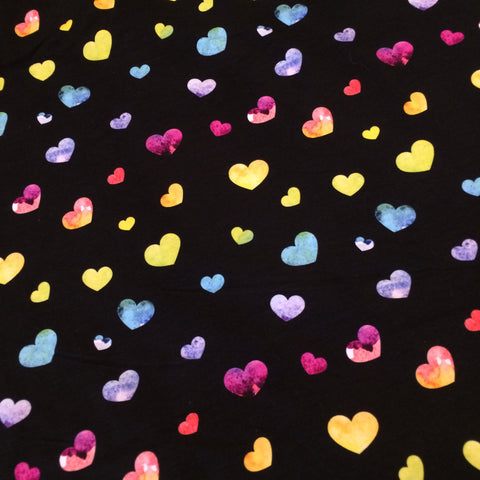 Rainbow Watercolour Hearts Single Brushed Poly- 1 Metre PRE CUT