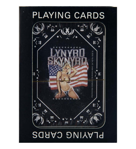Lynyrd Skynyrd Girl with Flag Playing Cards