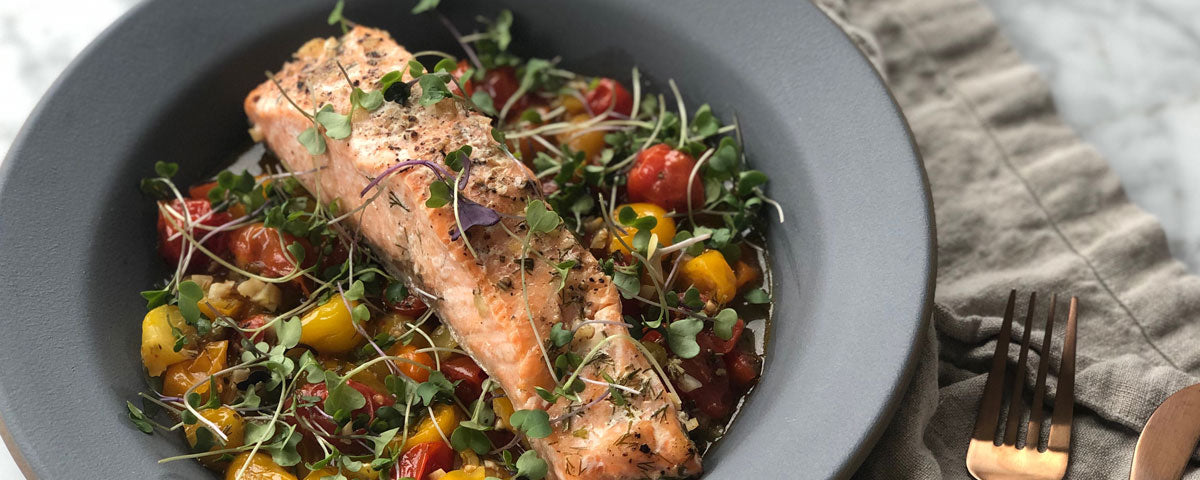 Parchment Roasted Salmon in Herbed Tomato Broth