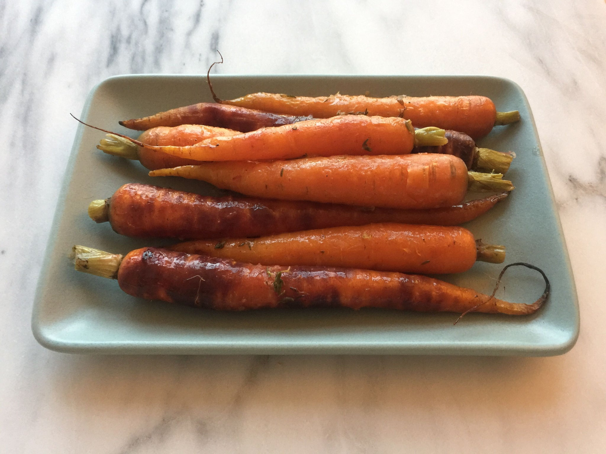 Roasted Rainbow Carrots with Lemon and Thyme