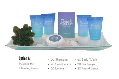 hotel size toiletries and amenities Beach therapy
