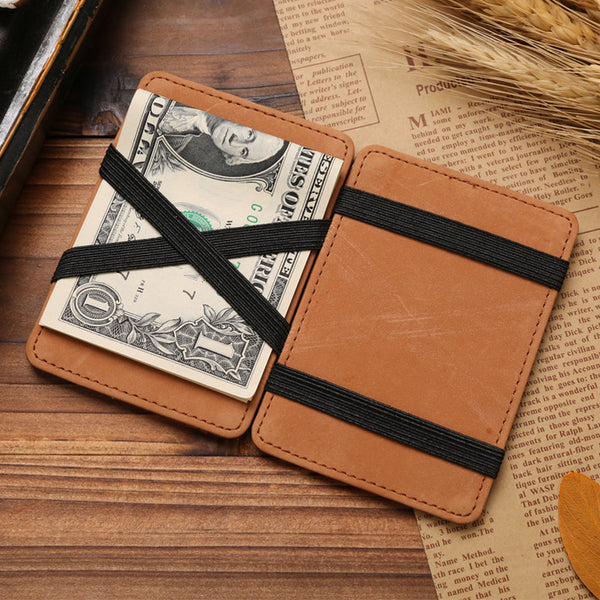 Men's Multifunctional Leather Wallet with Magic Cash Holder