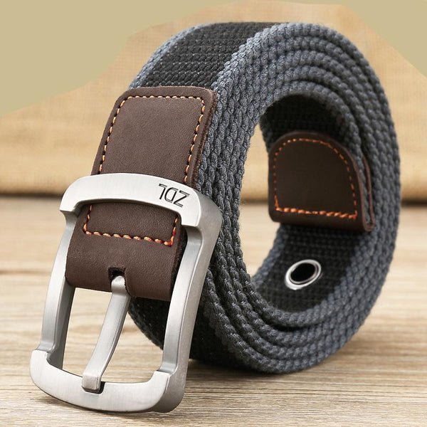 Men's Canvas Belt with Leather accents