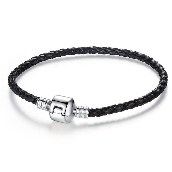 Leather & Silver Magnetic Bracelet