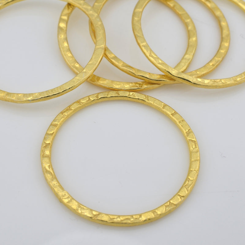 28mm - 5pc Hammered Gold plated Connector Rings Gold washers Artisan organic links, Link charms, handmade jewelry Earring making Circles