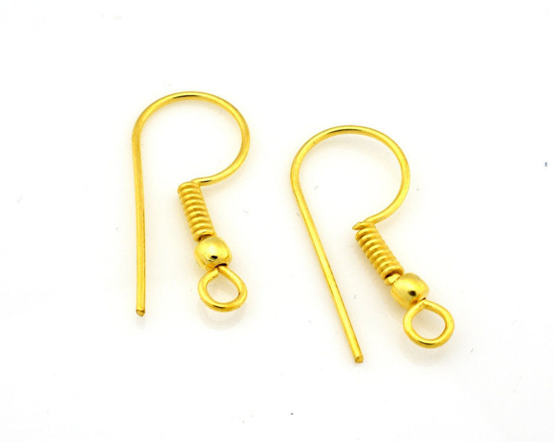 30pcs - Real Gold plated Classing ear wires with ball for jewelry making, 21mm Long - 19 Gauge AWG