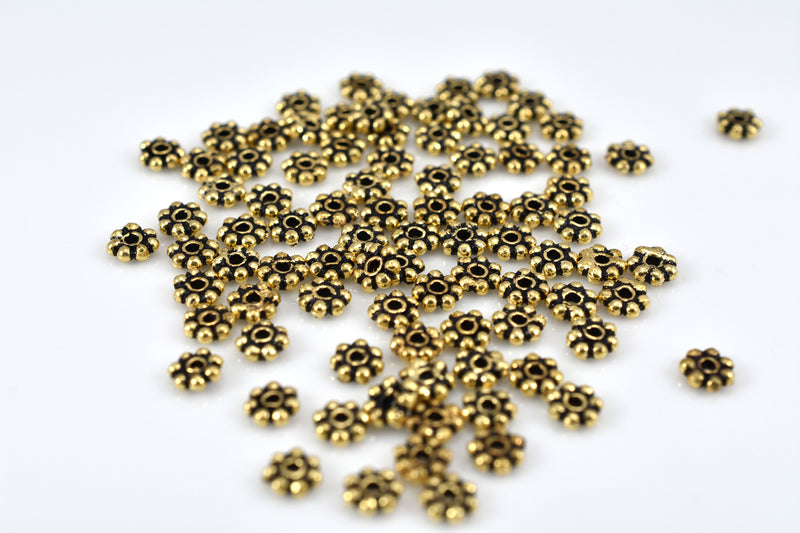 4mm - 88pc Gold plated Bali style Daisy Spacer Beads, antique gold heishi spacers