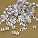 5mm - 530pc Silver bead caps, flower bead caps, Silver plated Bali style caps for jewelry making, metal bead caps supplies