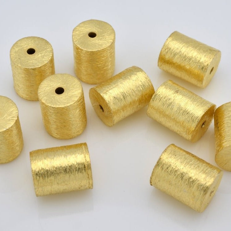6mm - 10pcs Gold Beads - long cylinder beads - gold spacer beads - brushed Gold plated drum beads for jewelry making