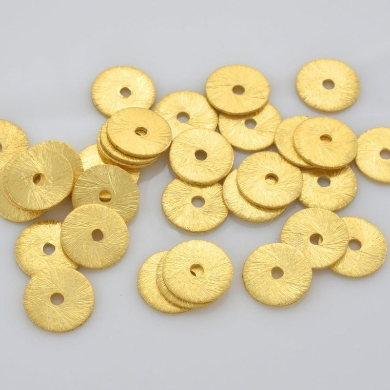 6mm - 187pcs Gold flat disc spacers, Brushed Disk heishi spacers beads, Gold plated disk beads for jewelry making